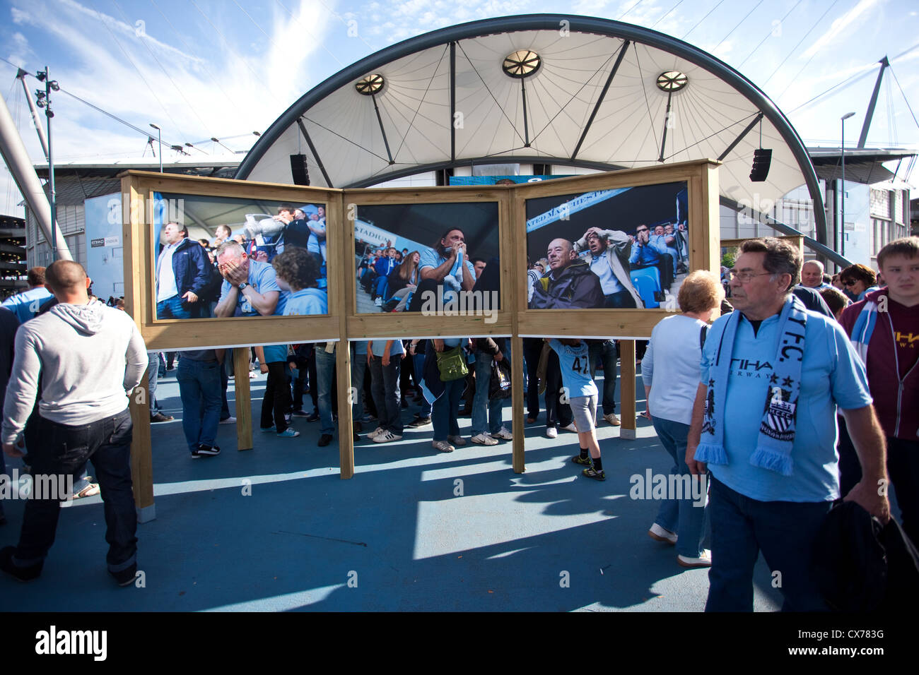 Fans inside the Etihad Campus, home of Manchester City Football Club, Manchester, England, United Kingdom - Stock Image