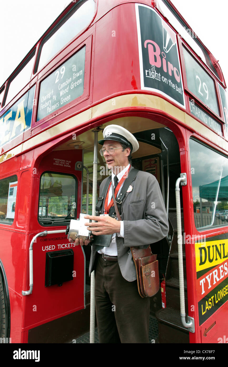Bus Conductor On A Routemaster London Bus At Brooklands