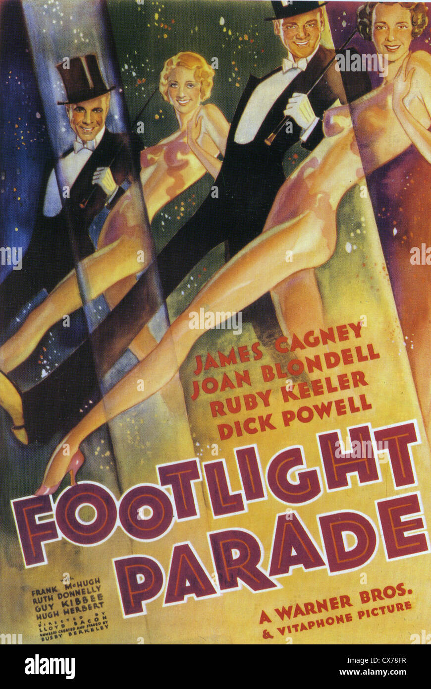 42nd STREET Poster for 1933 Warner Bros film with Bebe  Daniels, James Cagney and Joan Blondell - Stock Image