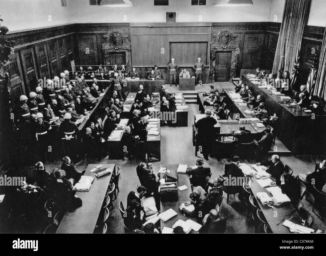 NUREMBERG TRIALS November 1945-October 1946. Courtroom 600 in the Palace of Justice with defendants at left and - Stock Image