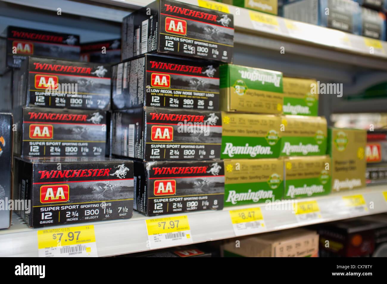 Shotgun Ammunition Shells on a shelf at Texas WalMart Stock