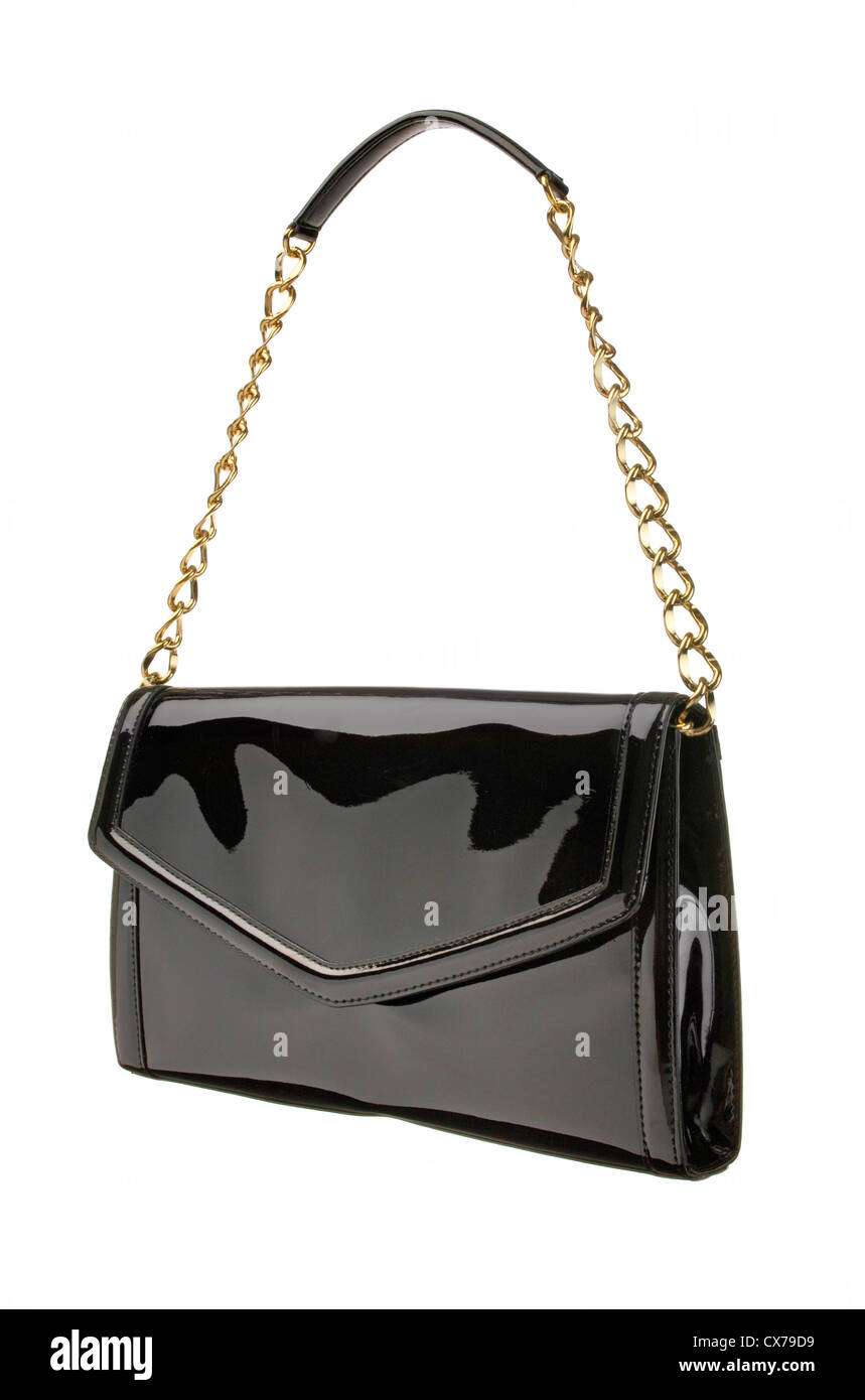 Black Shiny Clutch photographed on a white background - Stock Image