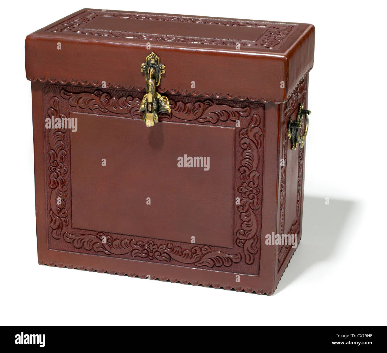 embossed leather bottle box photographed on a white background - Stock Image