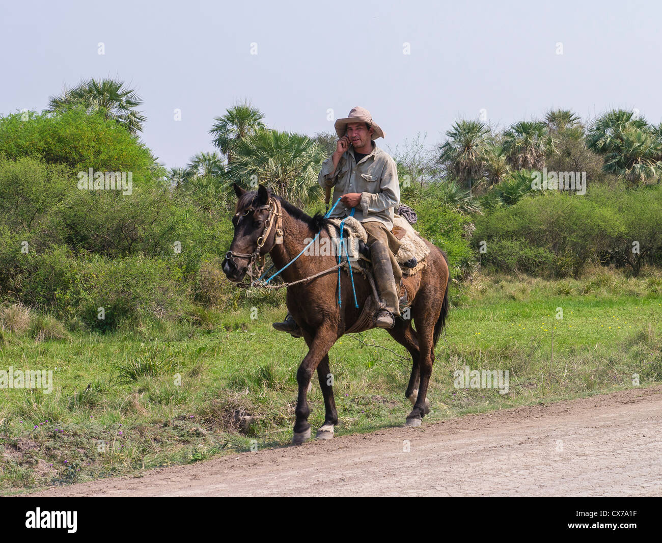 Male horseback rider in the Chaco region of northern Paraguay. - Stock Image