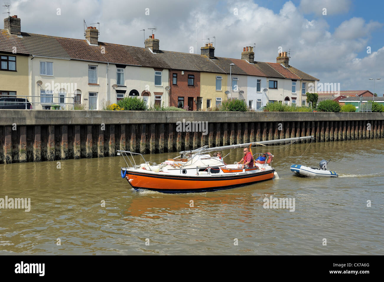 A family cruising on the river yare great yarmouth norfolk england uk - Stock Image