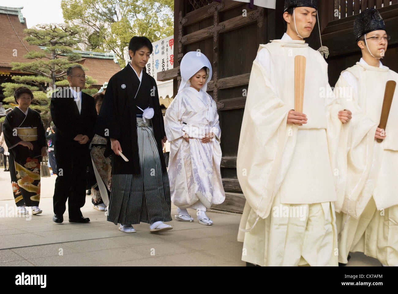 Traditional Japanese Wedding.Traditional Japanese Wedding Walking Through The Temple Gate Kyoto