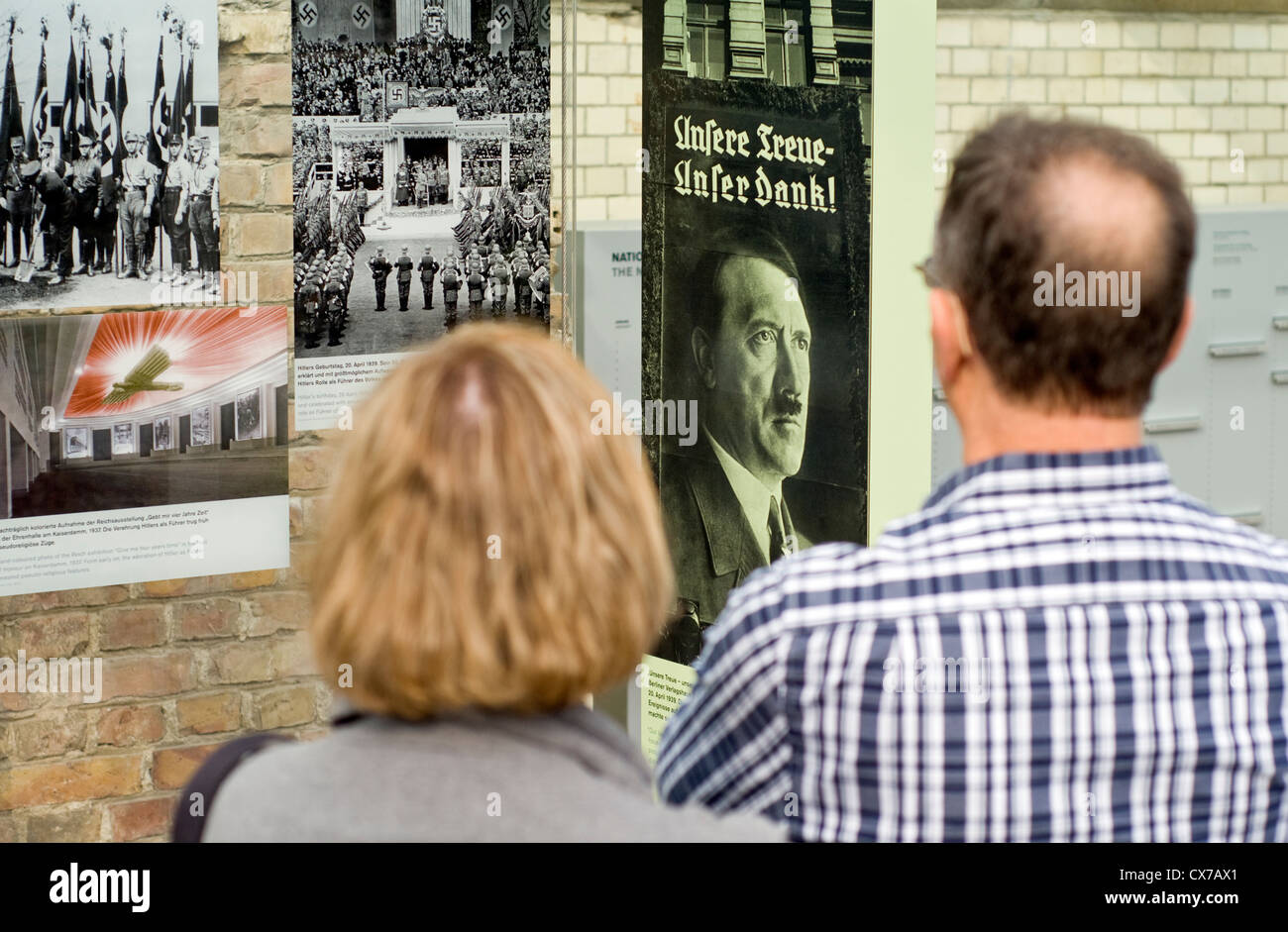 Visitors at the Topography of Terror outdoor museum in Berlin, Germany, which details the history of repression - Stock Image