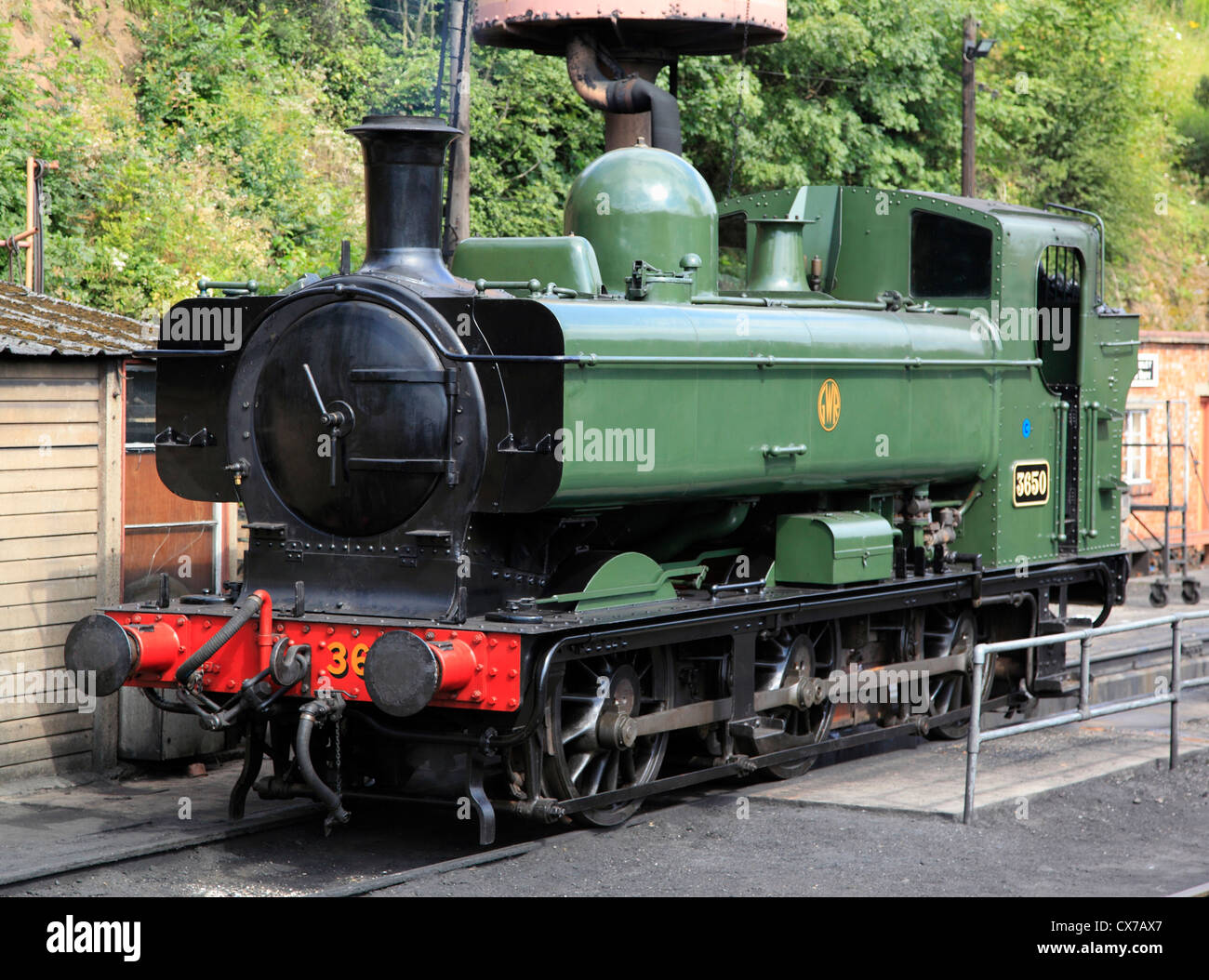 Pannier Tank No.3650 0-6-0 steam locomotive at Bewdley's Severn Valley Railway Station, Worcestershire, England - Stock Image