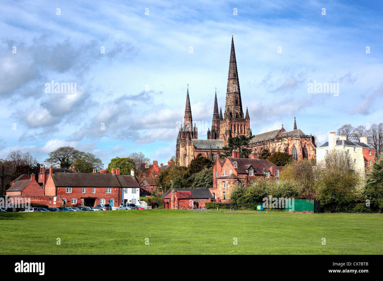 Lichfield Cathedral, Lichfield, Staffordshire, UK - Stock Image