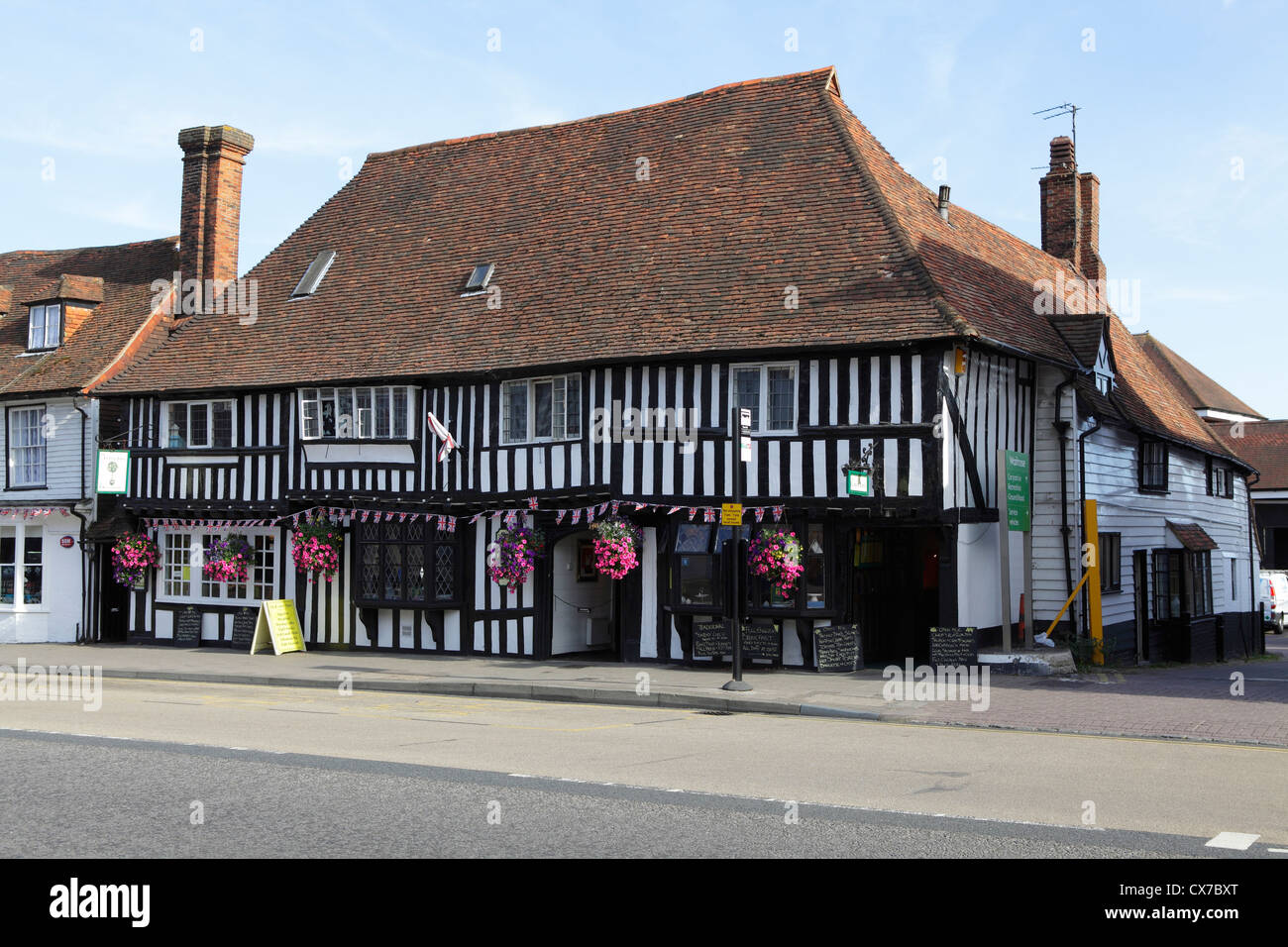 The Lemon Tree Restaurant in heavily timbered former 15th century Wealden Hall House Tenterden Kent UK GB - Stock Image