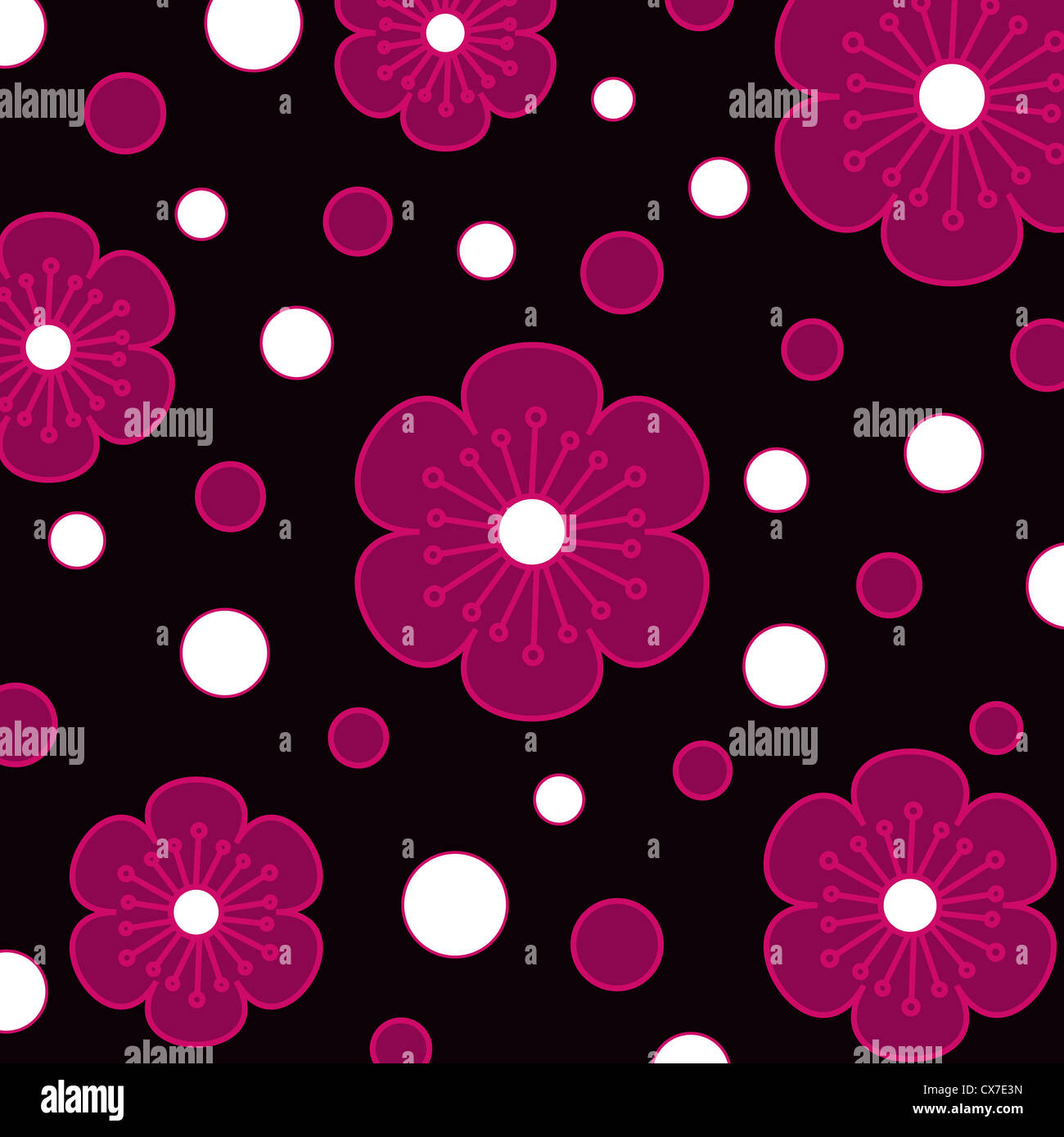 Seamless flowers and circle pattern on black Stock Photo