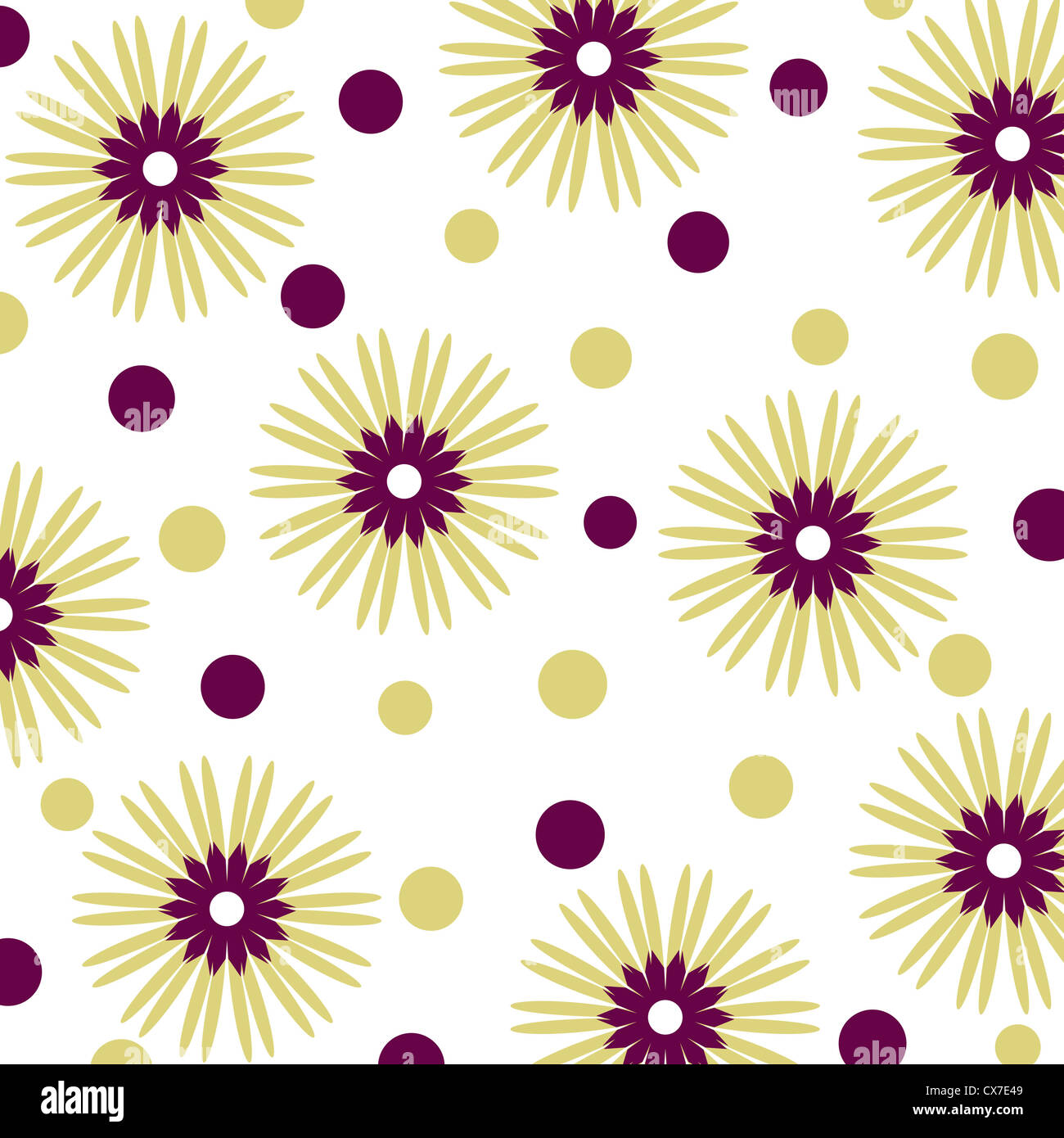 Seamless flowers and circle pattern on white Stock Photo
