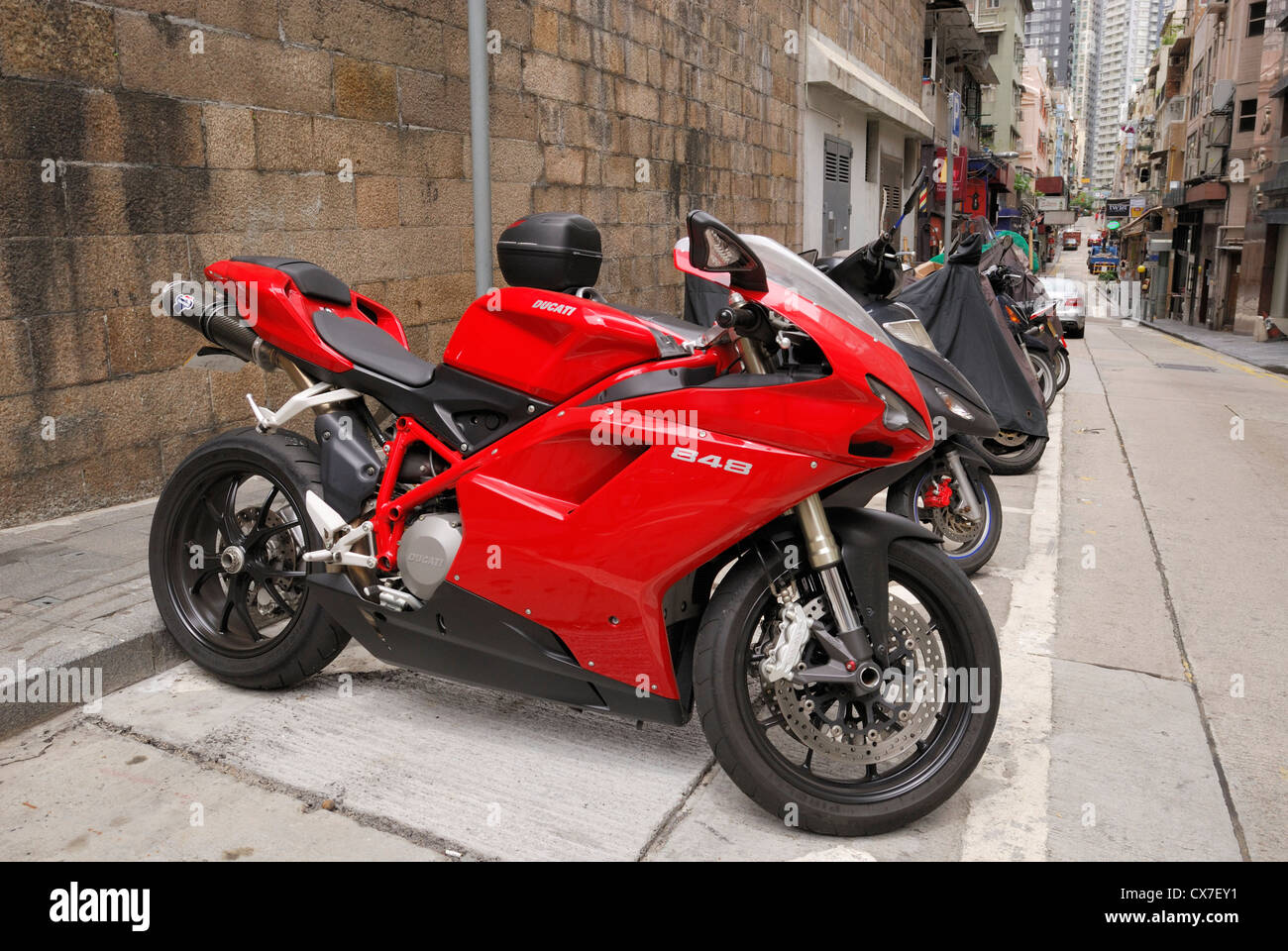Ducati 848 motorcycle parked on the streets of Hong Kong,China - Stock Image