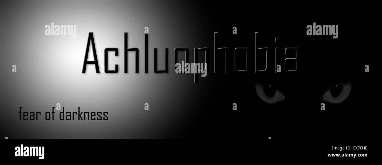 Depiction of Achluphobia, the abnormal fear of darkness - Stock Image