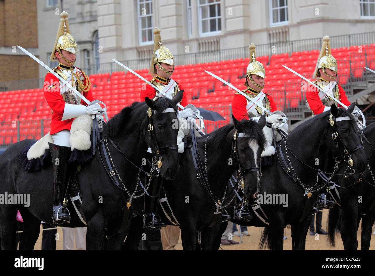 Household Cavalry, changing the guard at Horse guards parade, London, UK Stock Photo