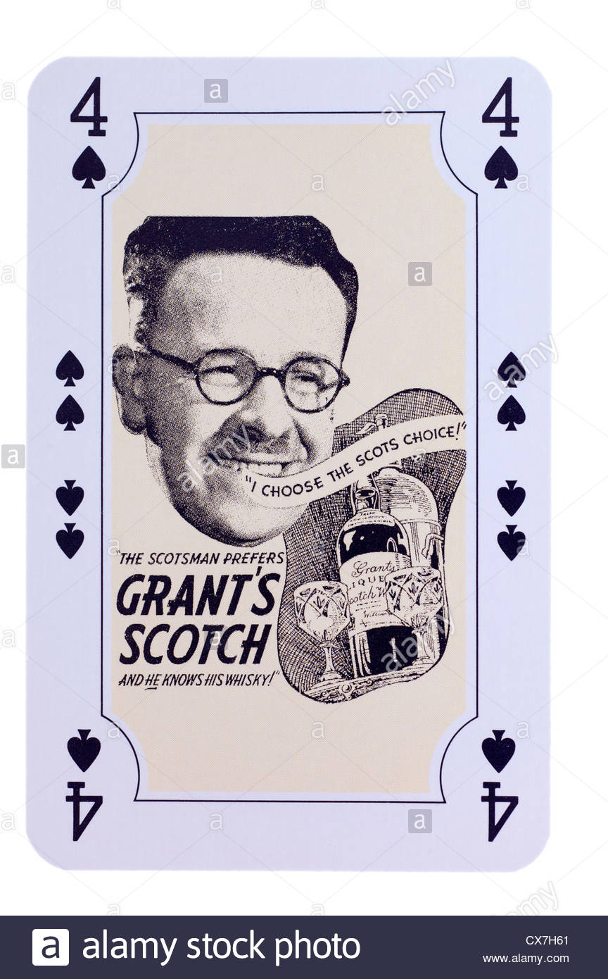 William Grants whisky special edition playing card advertisement illustration dating from 1928 to 1940. Editorial Stock Photo