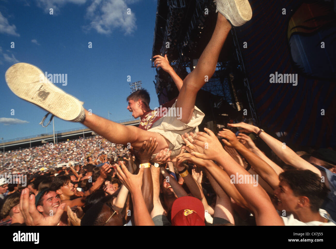 Randall's Island, New York - Crowd Surfing at Lollapalooza - Stock Image