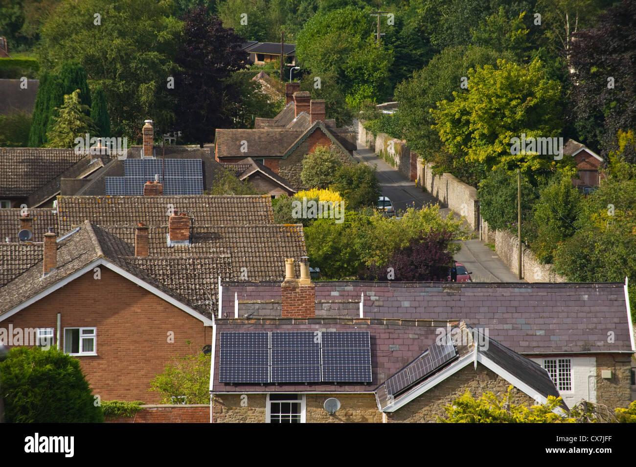 Solar panels on detached house at Ludlow Shropshire England UK - Stock Image