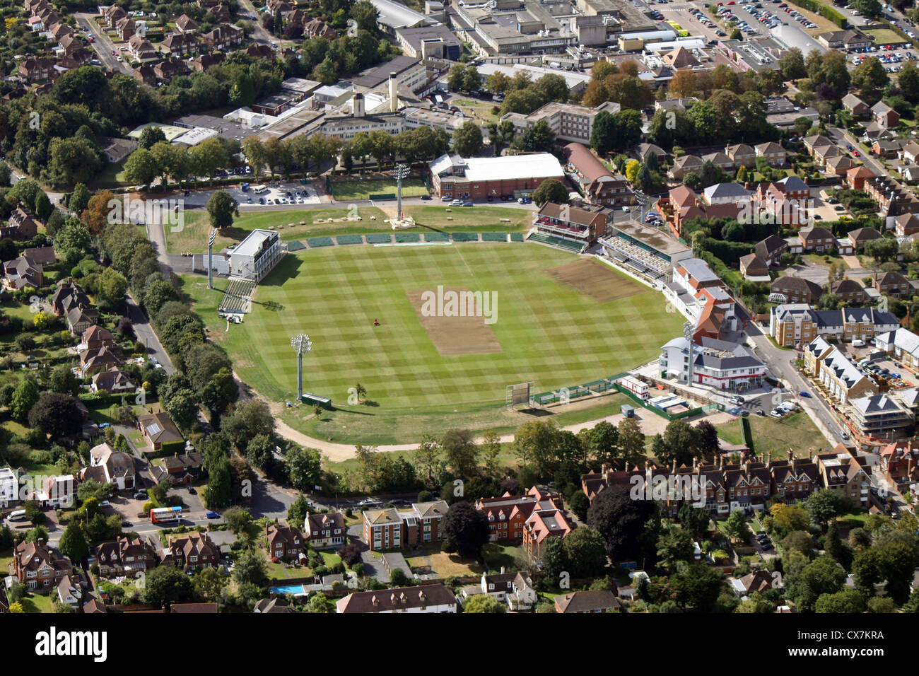 aerial view of The St Lawrence Ground home of Kent County Cricket Club in Canterbury - Stock Image