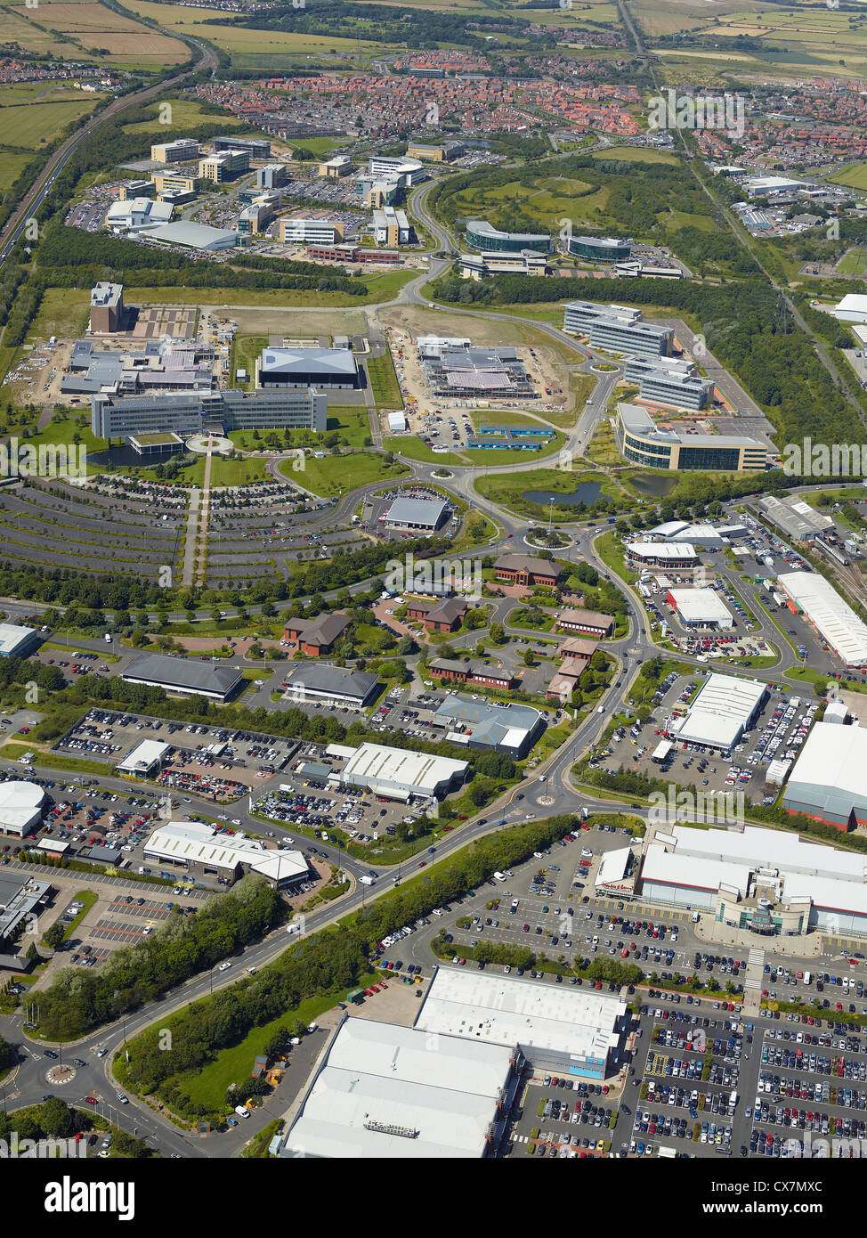 Silverlink business area, Newcastle upon Tyne, North East England, UK, Siemens site visible in the background Stock Photo