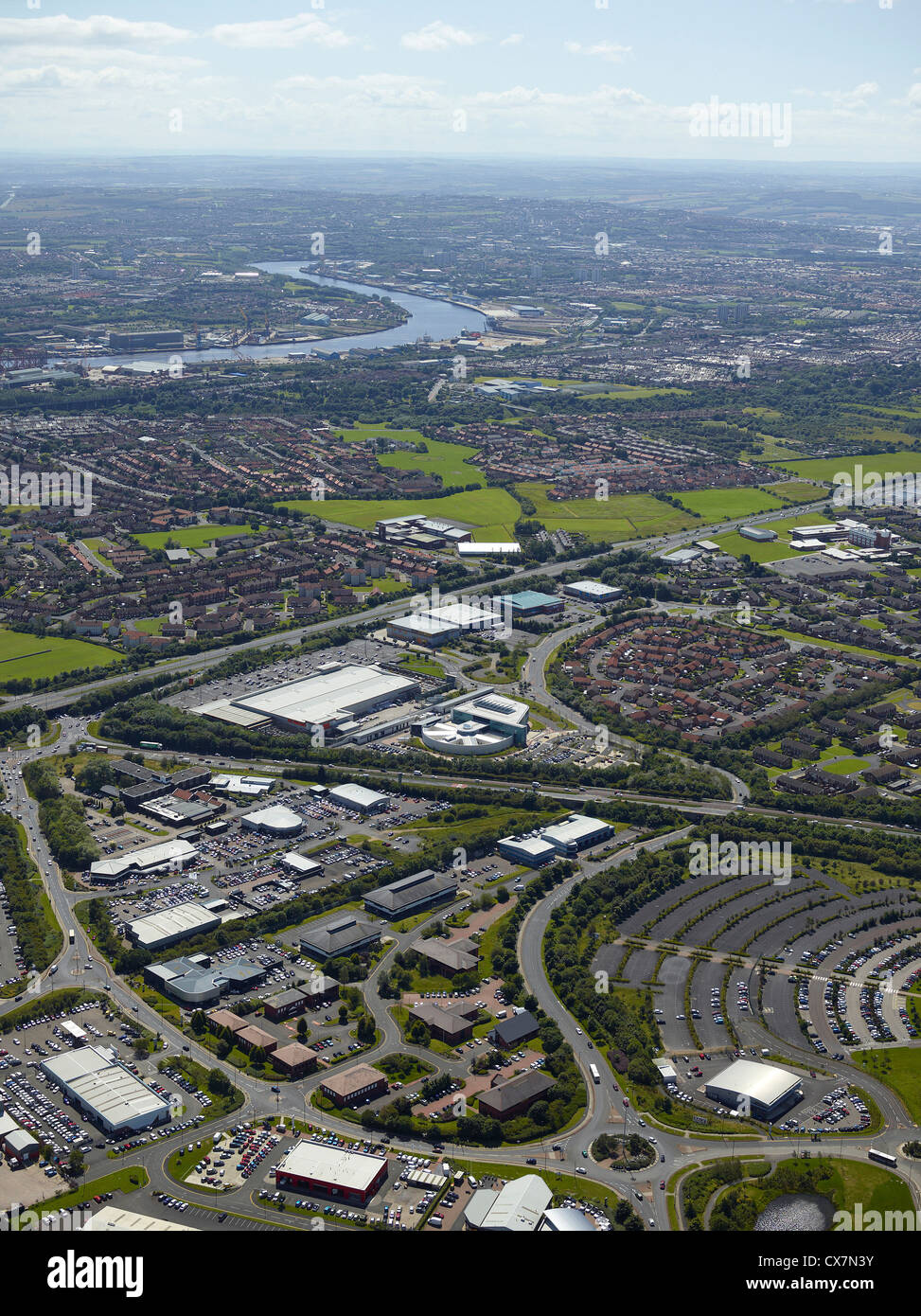 Silverlink business area, Newcastle upon Tyne, North East England, UK, river Tyne visible in the background - Stock Image
