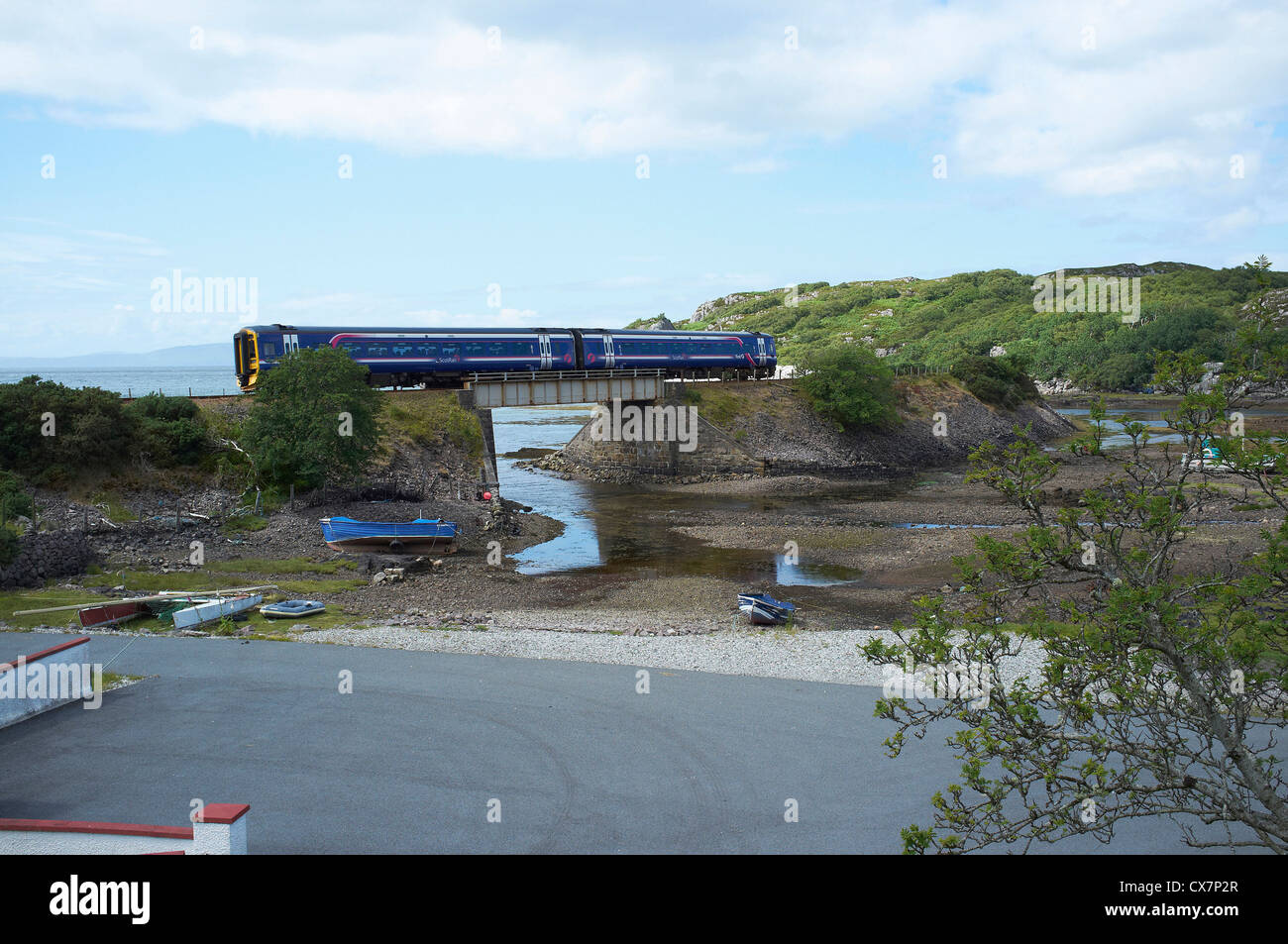 Scotrail Train on Kyle line at Erbusaig near Kyle of Lochalsh, Wester Ross, North West Scotland - Stock Image