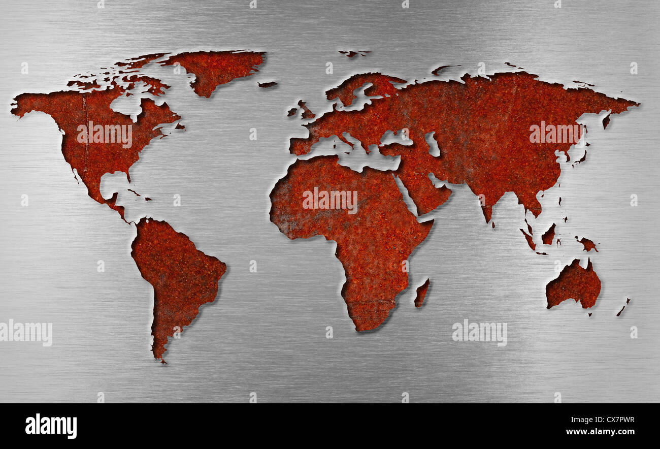 metal world map stock photos metal world map stock images alamy. Black Bedroom Furniture Sets. Home Design Ideas