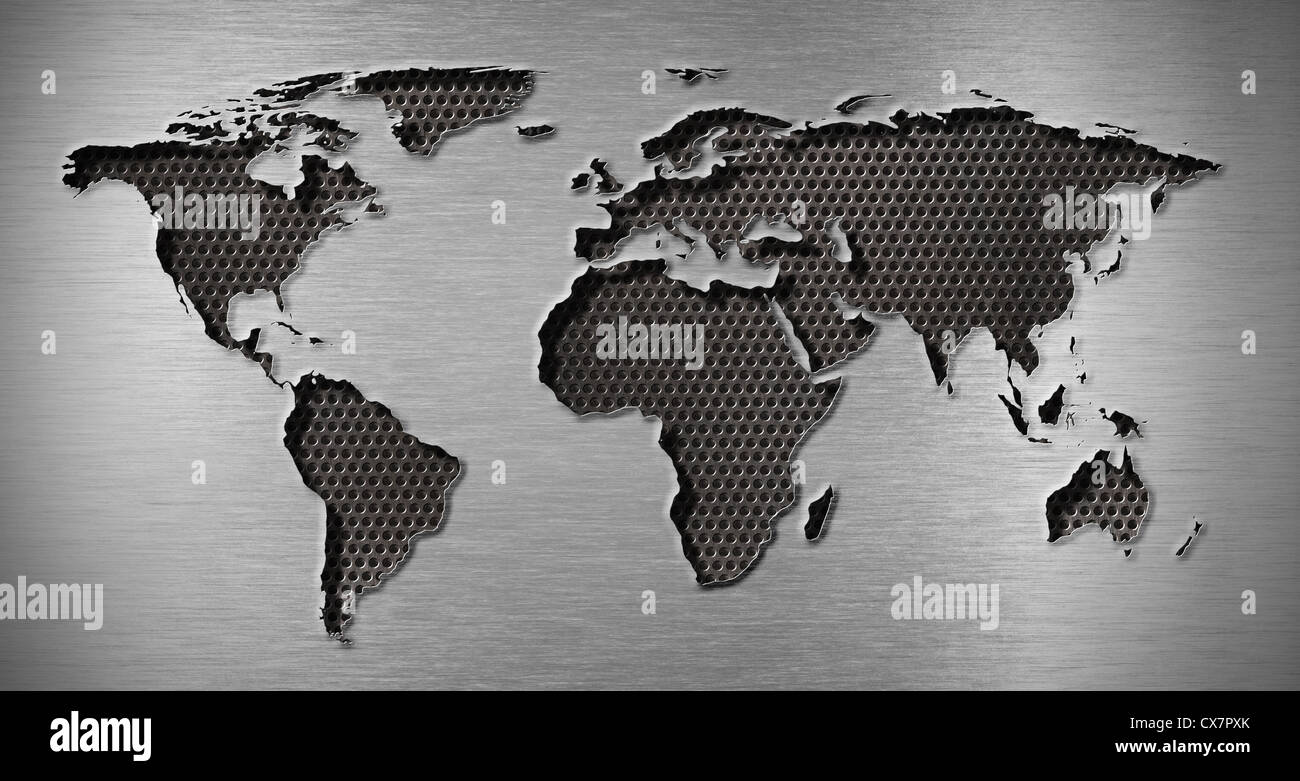 metal hole in world map shape - Stock Image