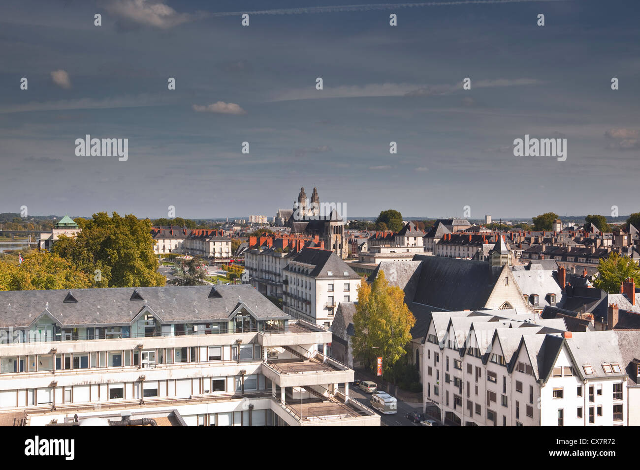 Looking across the rooftops of Tours in France. - Stock Image