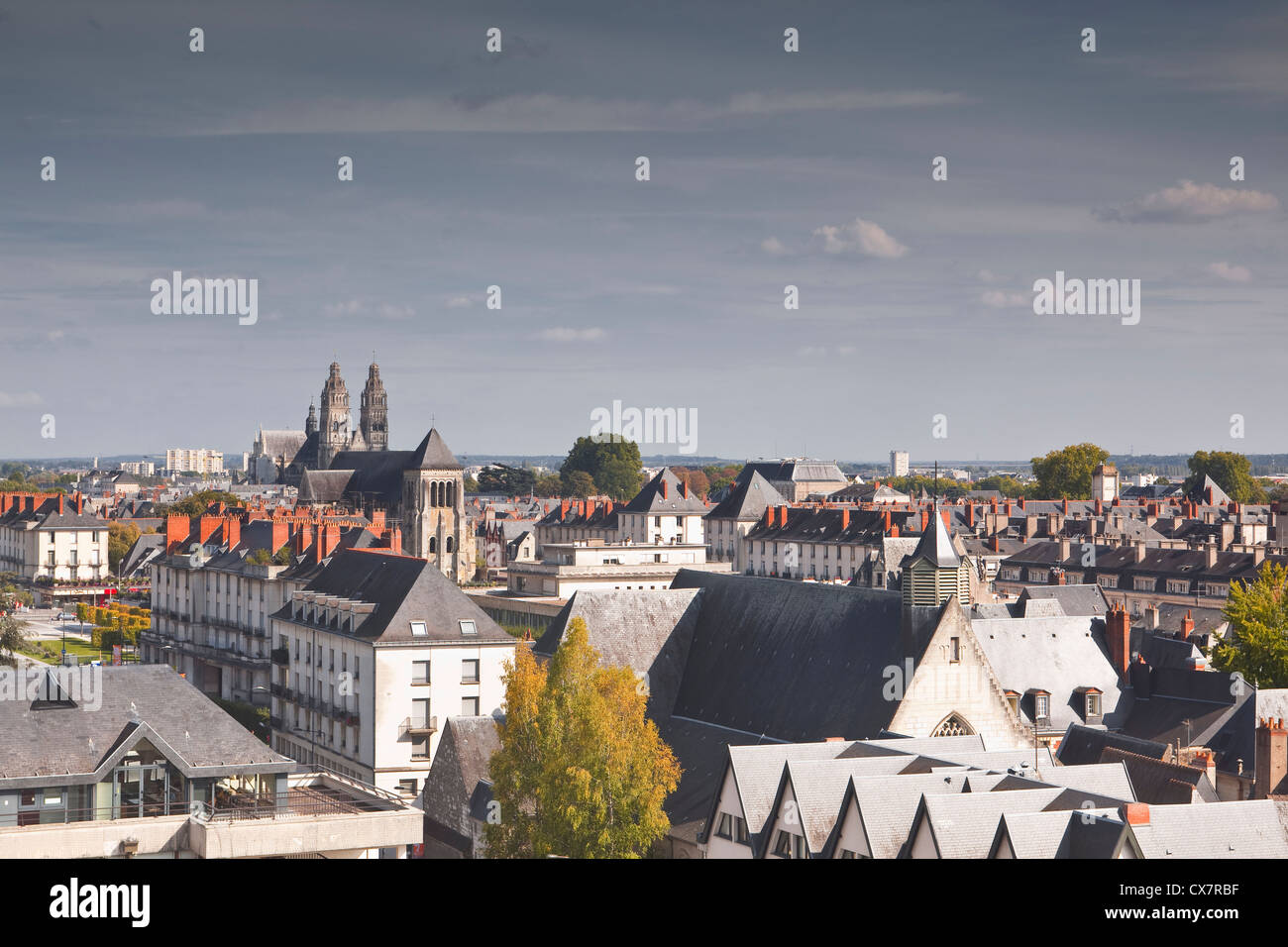 Looking across the rooftops of the city of Tours in France - Stock Image