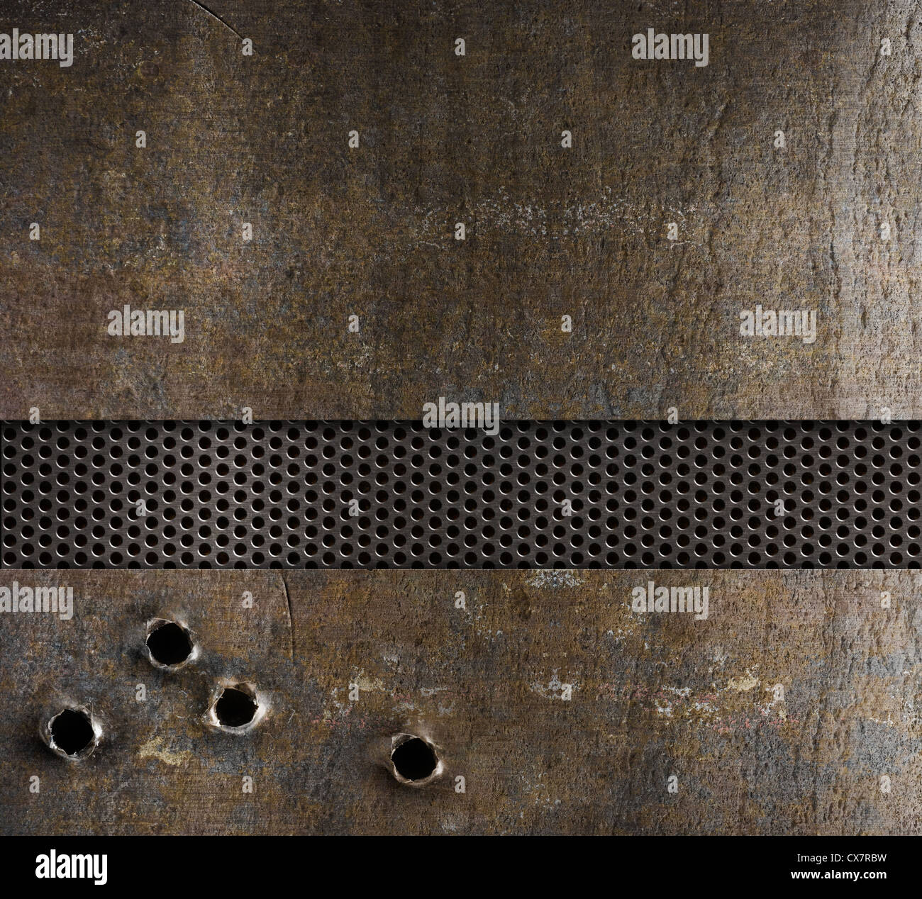 bullet holes in metal background - Stock Image