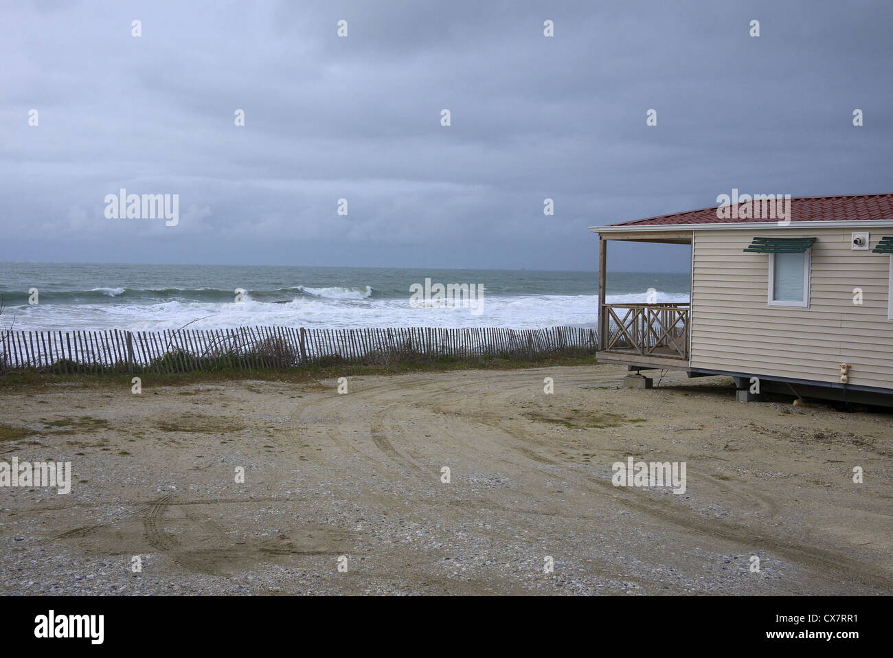 Holiday chalet overlooking the Atlantic at La Amelie-su-mer in France. - Stock Image