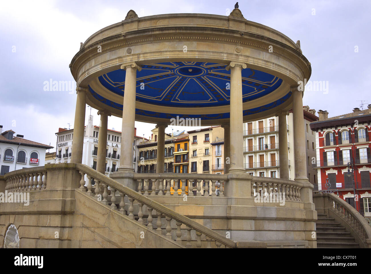 The bandstand on the Plaza del Castillo in Pamplona, Spain. Stock Photo
