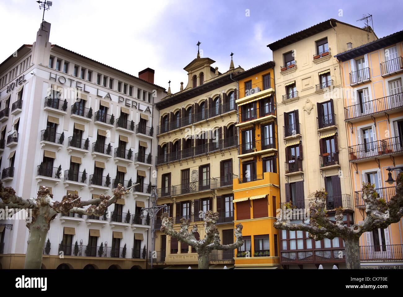 Hotel La Perla on Plaza del Castillo in Pamplona, Spain. Stock Photo