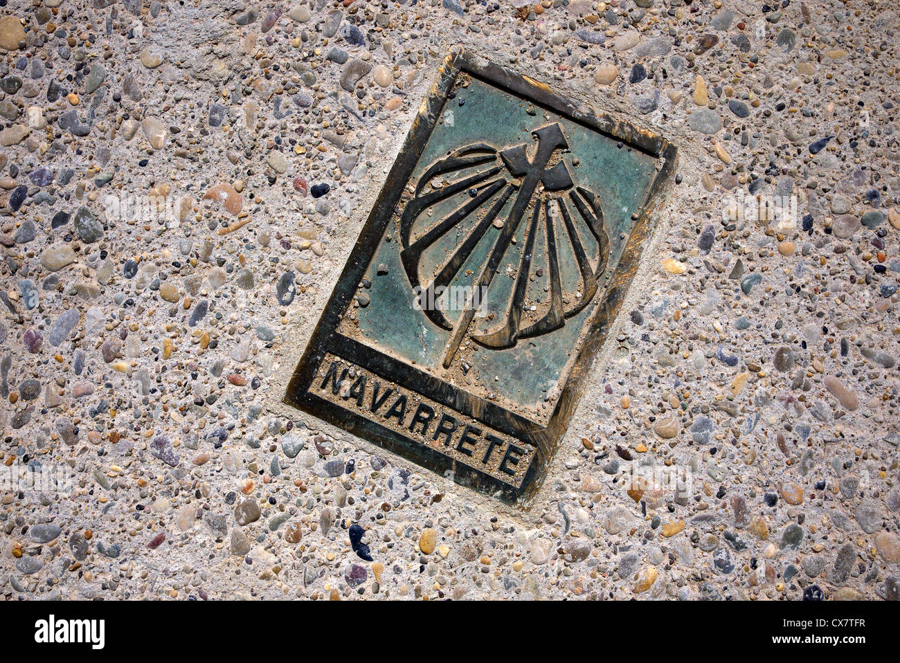 A way marker on the road to Santiago at Navarrete, Spain. - Stock Image