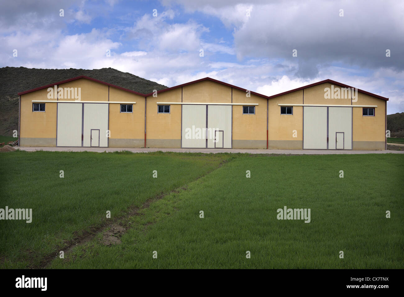 Three factory units in Castilla y Leon, Spain. - Stock Image