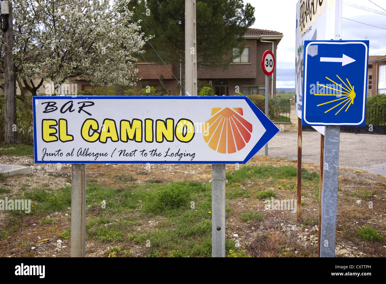 A sign for a bar in Tardajos, Spain, en route to Santiago de Compostela Stock Photo