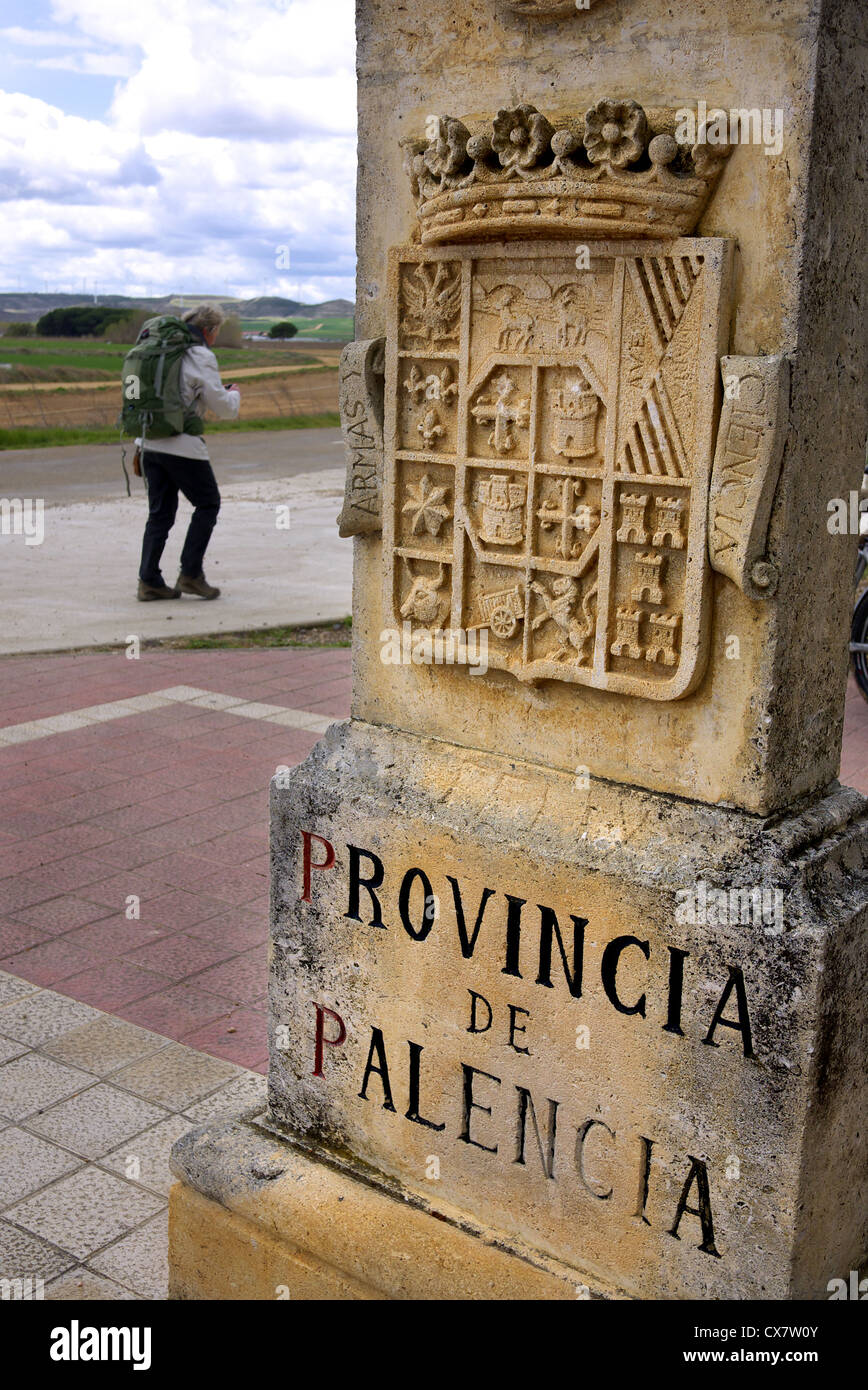 Sandstone marker on the border of the Palencia region of Spain. - Stock Image