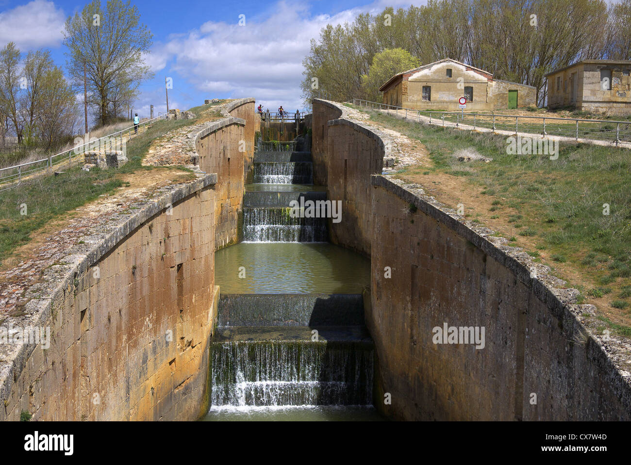 One of the locks on the Canal de Castilla near Fromista in Spain. - Stock Image