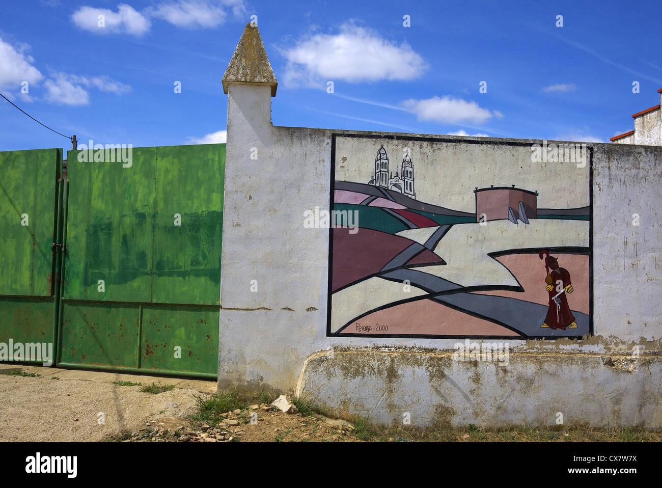 Mural depicting a pilgrim en route to Santiago de Compostela, Spain. - Stock Image