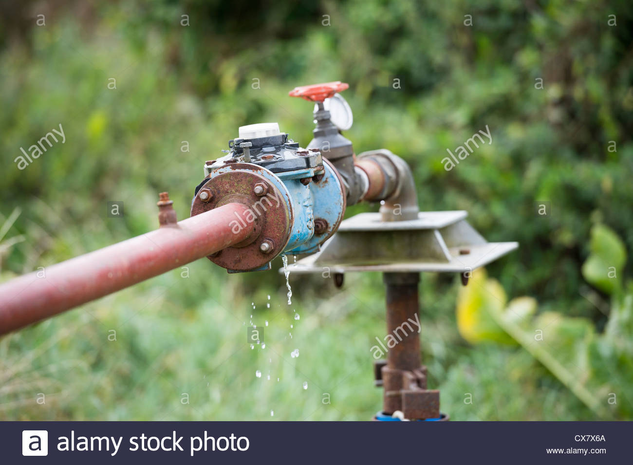 Flow Regulator Assembly Fitted to a Water Well - Stock Image