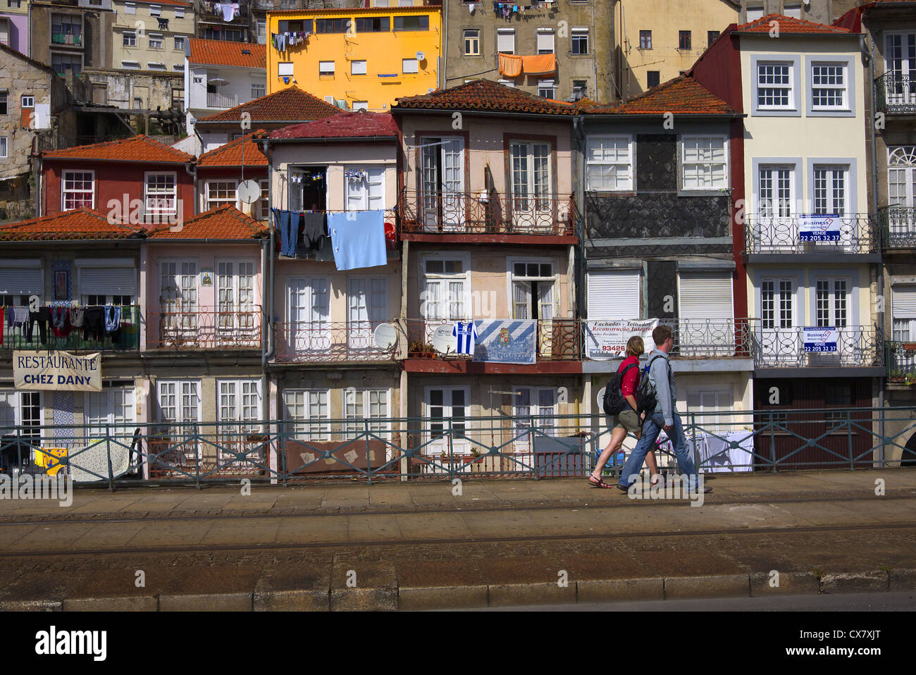 Terraced housing in Porto, Portugal. - Stock Image