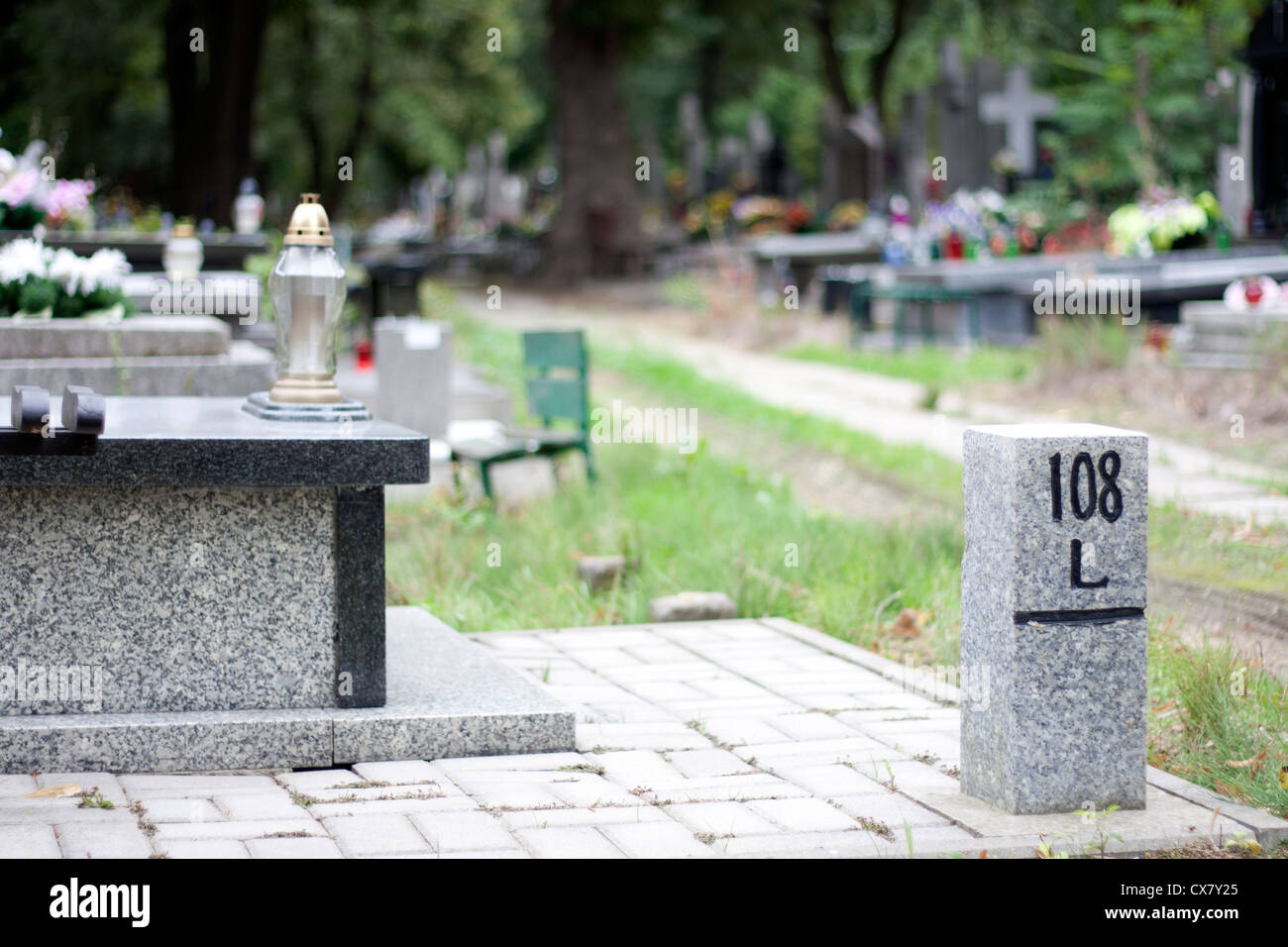 Cemetery and finding right way concept - Stock Image