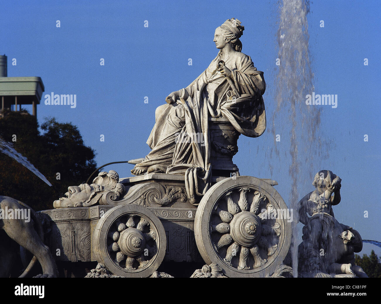 Fountain of Cibeles by Francisco Gutierrez (1727-1782) (goddess and chariot). Cybele in her chariot drawn by lions. - Stock Image