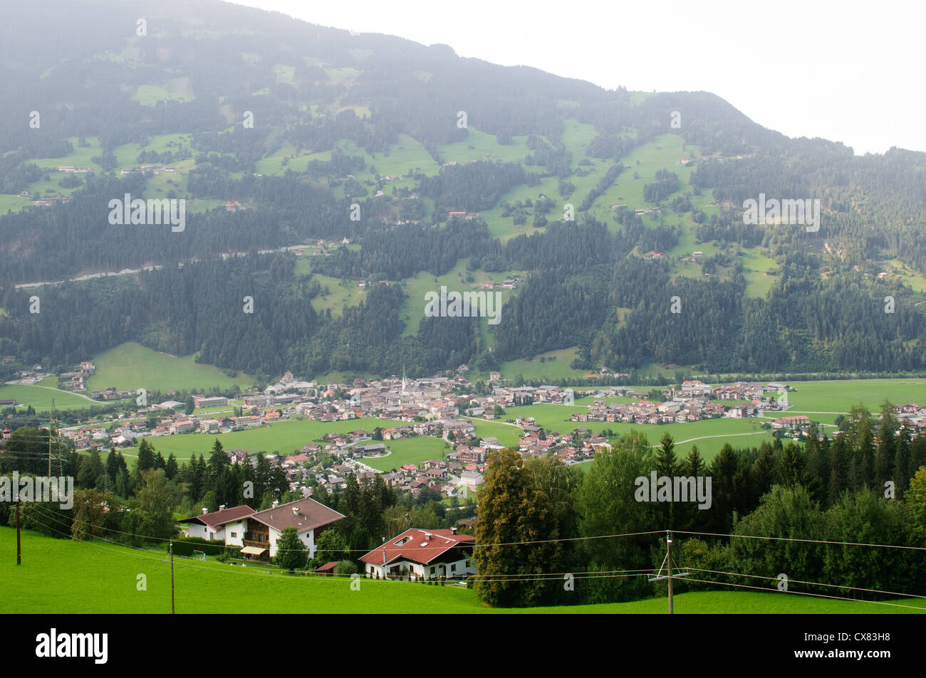 Austria, Tyrol, Zillertal, Mayrhofen elevated view - Stock Image