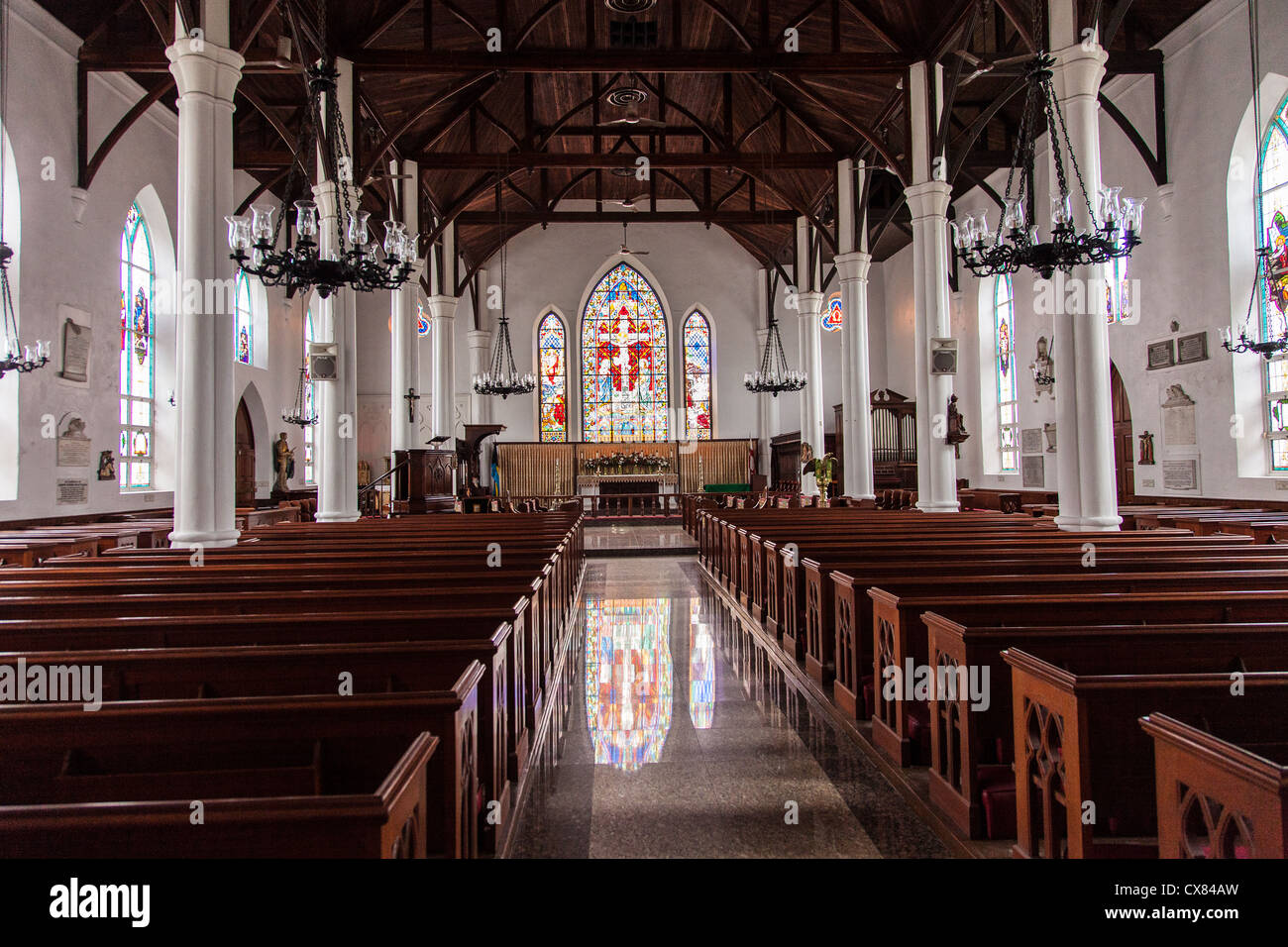 Interior of the Christ Church Cathedral Anglican Church in Nassau , Bahamas. Stock Photo