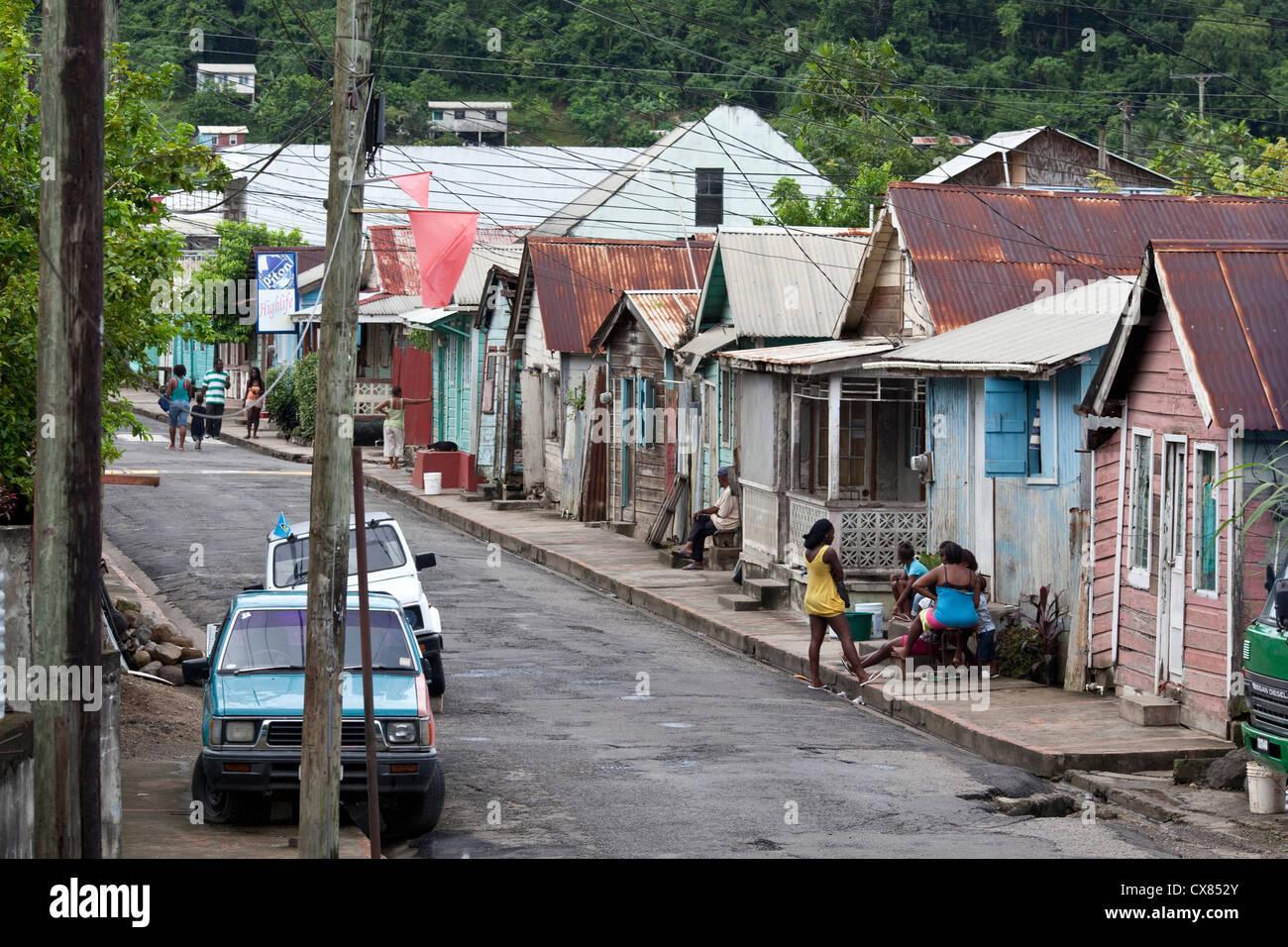 shacks in Anse-la-Rey, St Lucia, Caribbean - Stock Image