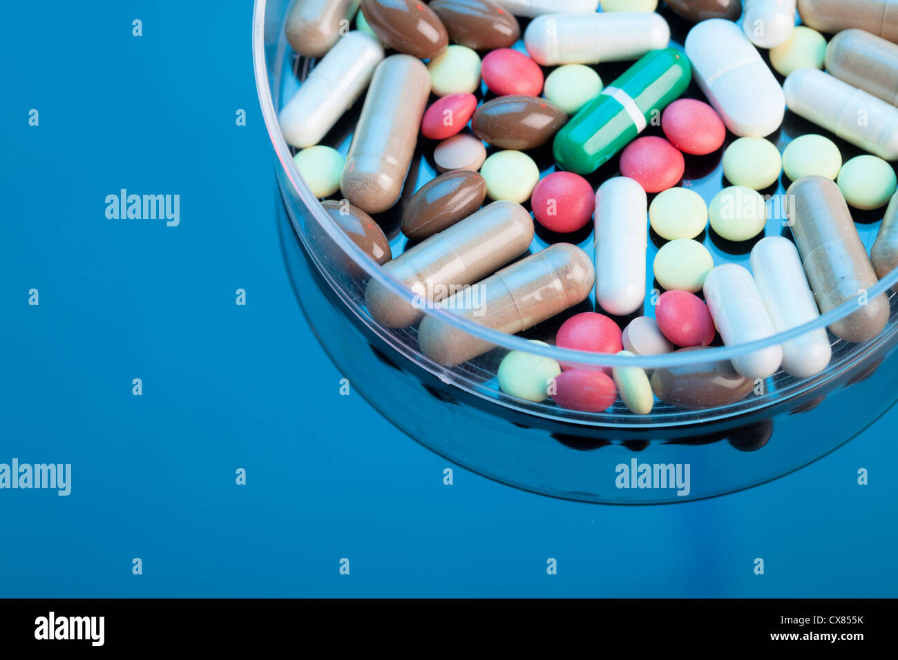 Overdose of vitamin products - Stock Image