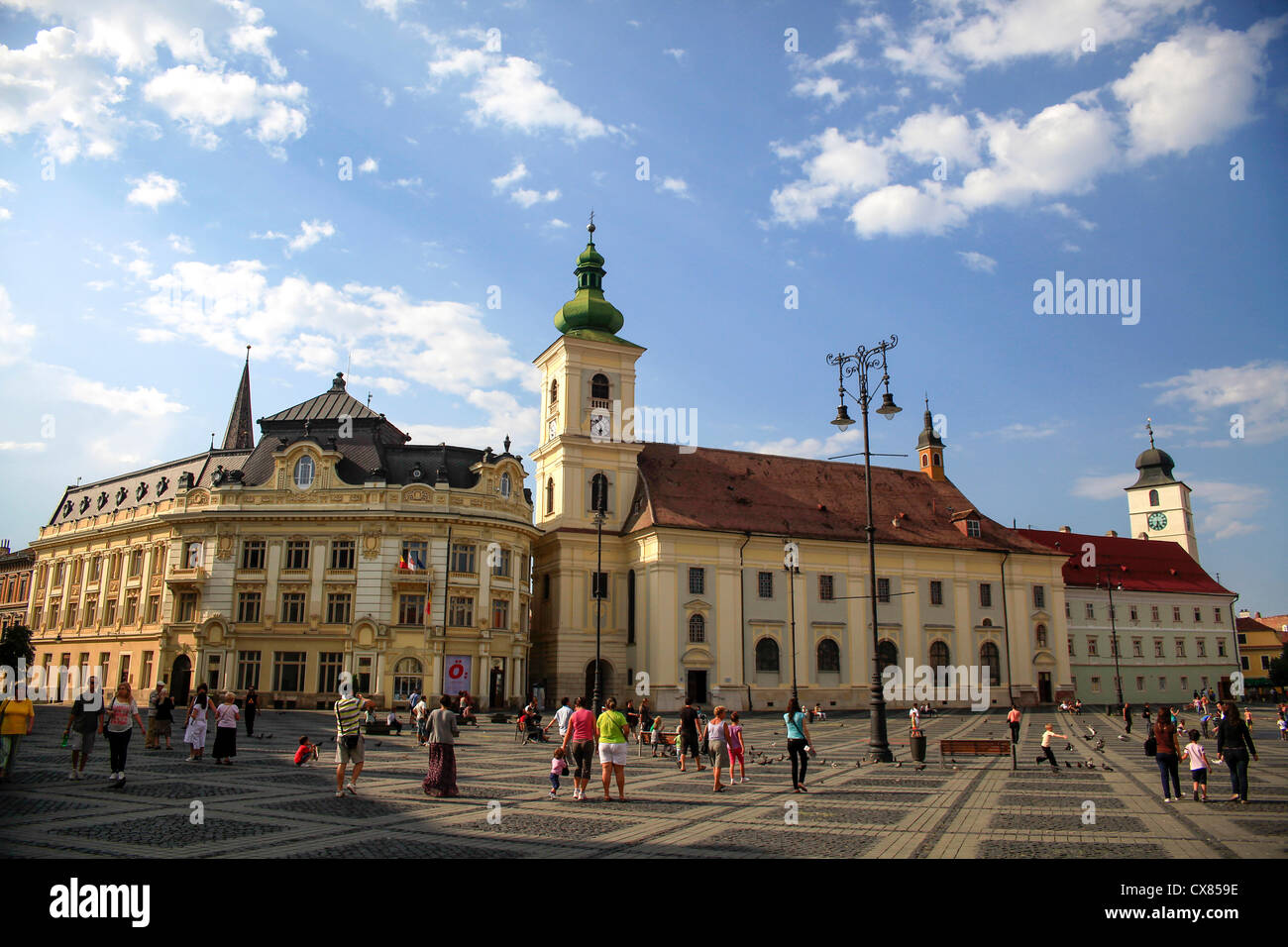 Mare square, Sibiu, Transylvania, Romania - Stock Image