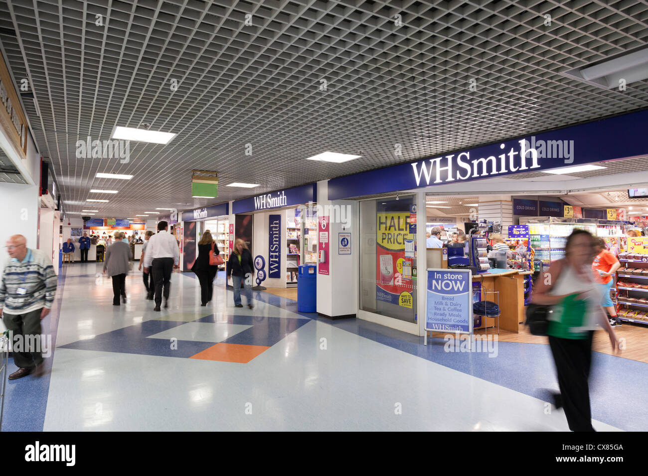 WH Smith and shops inside entrance foyer of Southampton General Hospital - Stock Image